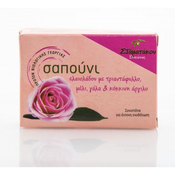 Σαπούνι με τριαντάφυλλο μέλι, γάλα, κόκκινη άργιλο από βιολογικό ελαιόλαδο